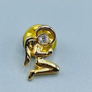 Vintage Gold & Crystal Praying Angel Pin